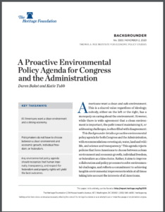 A Proactive Environmental Policy Agenda for Congress and the Administration
