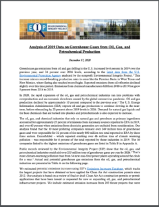 Analysis of 2019 Data on Greenhouse Gases from Oil, Gas, and Petrochemical Production