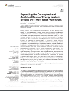 Expanding the Conceptual and Analytical Basis of Energy Justice: Beyond the Three-Tenet Framework