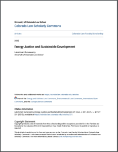 Energy Justice and Sustainable Development