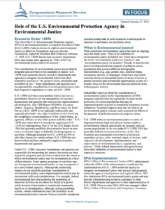 Role of the U.S. Environmental Protection Agency in Environmental Justice