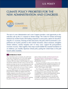 Climate Policy Priorities for the New Administration and Congress
