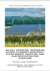 On-Bill Financing: Expanding Access to Energy Efficiency, Clean Energy Adoption, and Electrification for Everyone