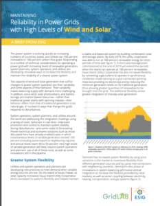 Maintaining Reliability in Power Grids with High Levels of Wind and Solar