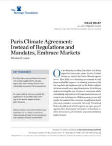 Paris Climate Agreement: Instead of Regulations and Mandates, Embrace Markets
