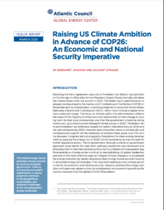 Raising US climate ambition in advance of COP26: An economic and national security imperative