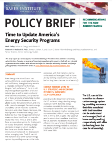 Time to Update America's Energy Security Programs