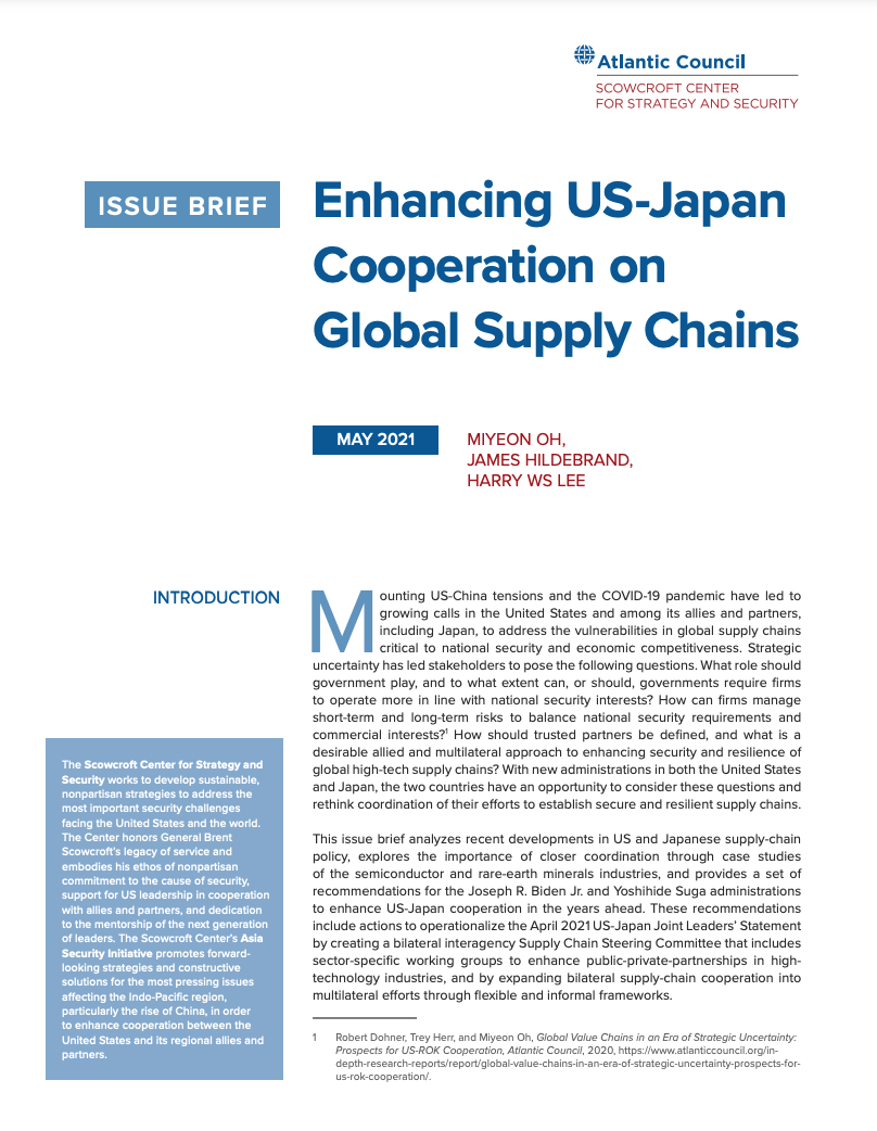 Enhancing US-Japan Cooperation on Global Supply Chains