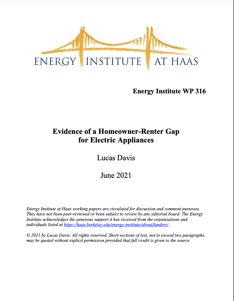 Evidence of a Homeowner-Renter Gap for Electric Appliances