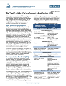The Tax Credit for Carbon Sequestration (Section 45Q)