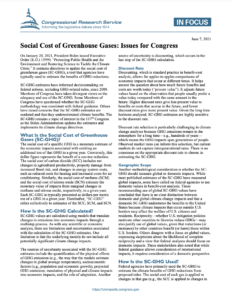 Social Cost of Greenhouse Gases: Issues for Congress