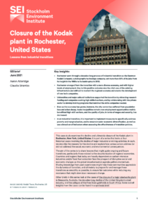 Closure of the Kodak plant in Rochester, United States: Lessons from Industrial Transitions