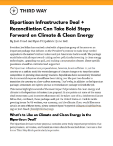 Bipartisan Infrastructure Deal + Reconciliation Can Take Bold Steps Forward on Climate and Clean Energy