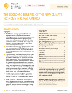 The Economic Benefits of the New Climate Economy in Rural America