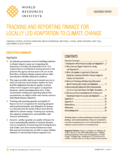 Tracking and Reporting Finance for Locally Led Adaptation to Climate Change