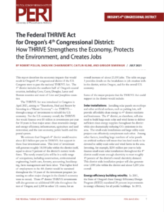 The Federal THRIVE Act for Oregon's 4th Congressional District:How THRIVE Strengthens the Economy, Protects the Environment, and Creates Jobs