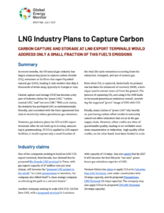 LNG Industry Plans to Capture Carbon