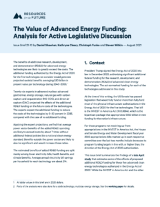 The Value of Advanced Energy Funding: Analysis for Active Legislative Discussion