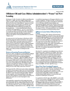 """Offshore Oil and Gas: Biden Administration's """"Pause"""" on New Leasing"""