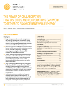 The Power of Collaboration: How U.S. Cities and Corporations Can Work Together to Advance Renewable Energy