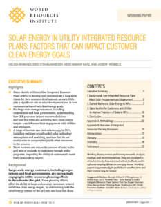 Solar Energy in Utility Integrated Resource Plans: Factors That Can Impact Customer Clean Energy Goals