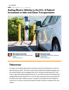 Scaling Electric Vehicles in the U.S.: A Federal Investment in Jobs and Clean Transportation