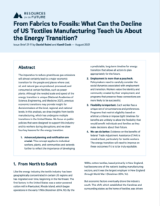From Fabrics to Fossils: What Can the Decline of US Textiles Manufacturing Teach Us About the Energy Transition?