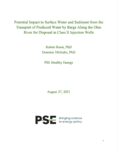 Potential Impact to Surface Water and Sediment from the Transport of Produced Water by Barge Along the Ohio River for Disposal in Class II Injection Wells