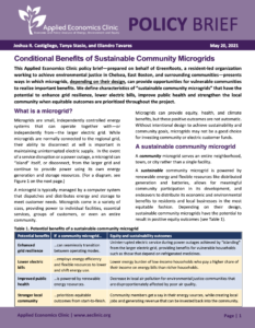 Conditional Benefits of Sustainable Community Microgrids