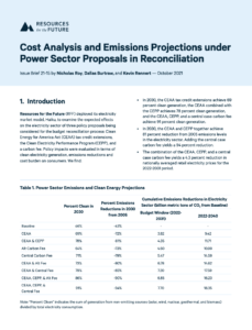 Cost Analysis and Emissions Projections under Power Sector Proposals in Reconciliation